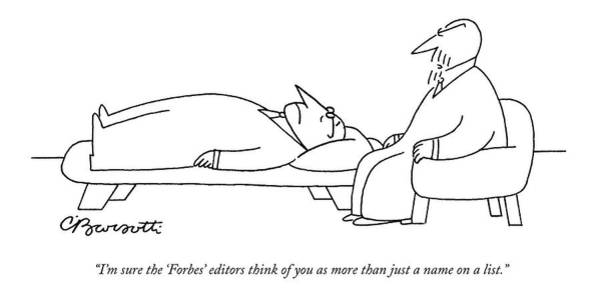 Self Image Drawing - An Analyst Speaks To His Patient by Charles Barsotti