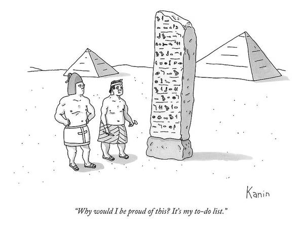 Proud Drawing - An Ancient Egyptian Mason Describes An Obelisk by Zachary Kanin