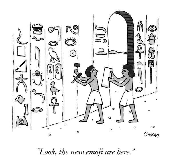 April 27th Drawing - An Ancient Egyptian Speaks To Another Who by Cameron Harvey