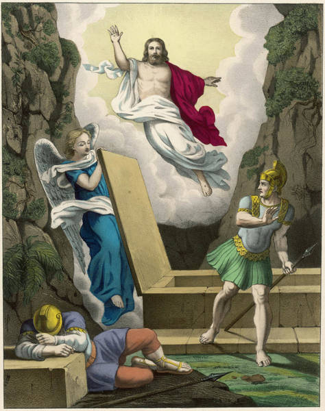 Wall Art - Drawing - An Angel Lifts The Slab  Covering by Mary Evans Picture Library