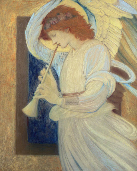 Wall Art - Painting - An Angel Playing A Flageolet by Sir Edward Coley Burne-Jones