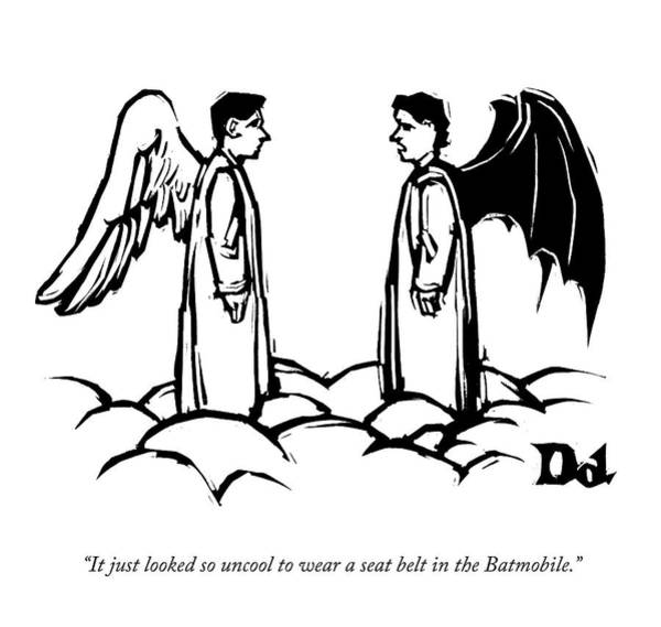 Angels Drawing - An Angel With Bat Wings Speaks To An Angel by Drew Dernavich