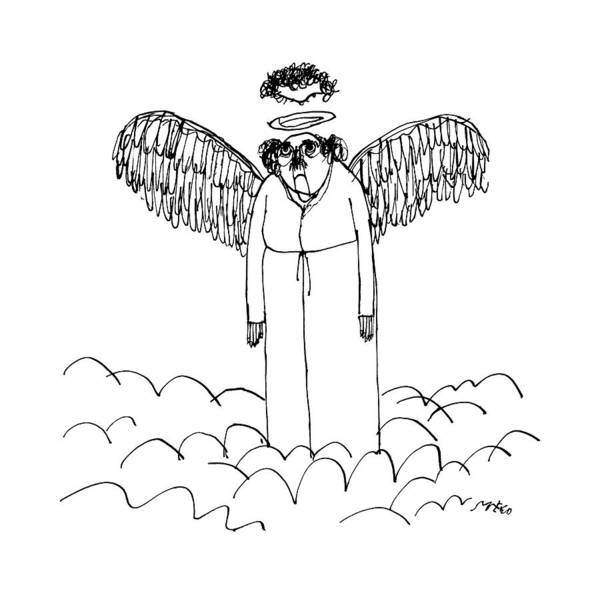 October 5th Drawing - An Angel's Halo Cuts Off The Top Of His Head by Edward Steed