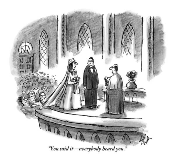 Wedding Drawing - An Annoyed Wife Talks To Her Husband At The Altar by Frank Cotham