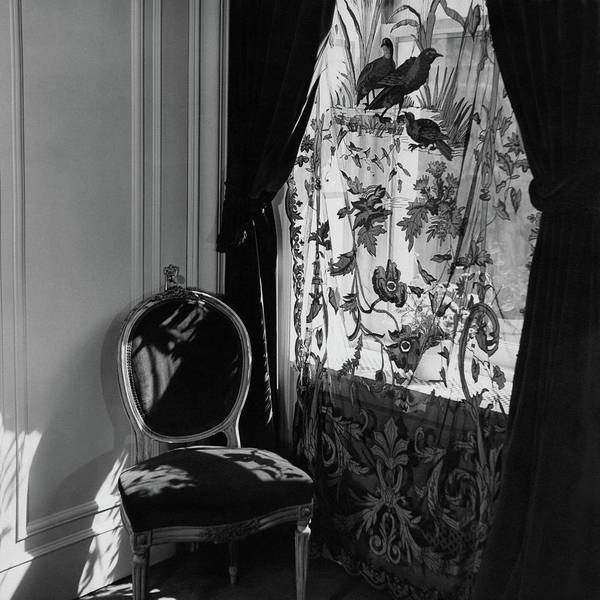 Window Photograph - An Antique Chair By A Window by Cecil Beaton