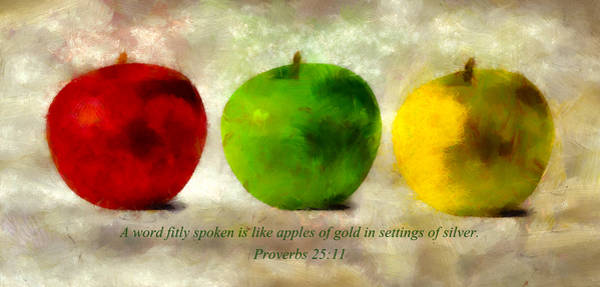 Mixed Media - An Apple A Day With Proverbs by Angelina Tamez