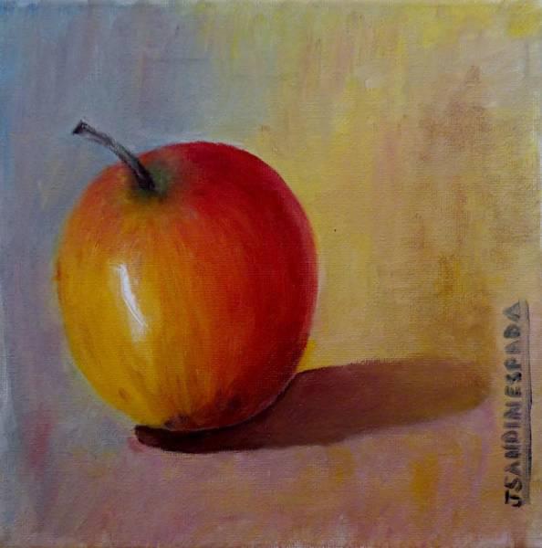 Manzana Wall Art - Painting - An Apple by Juan Sandin