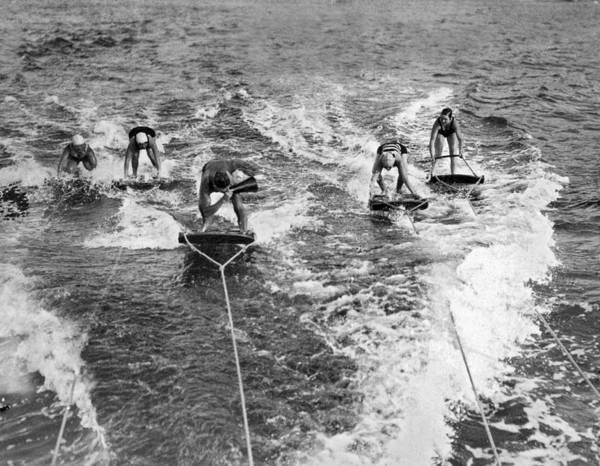 Lessons Photograph - An Aquaplane Teacher by Underwood Archives