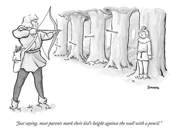 Archery Wall Art - Drawing - An Archer Aims To Shoot An Apple Off His Son's by Benjamin Schwartz