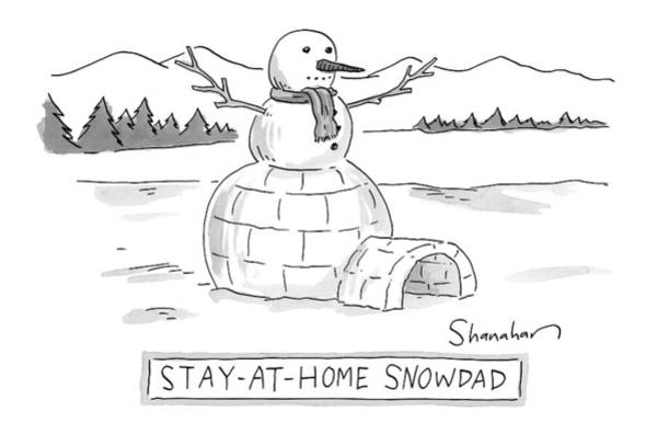 At Home Drawing - An Arctic Igloo With A Snowman Top by Danny Shanahan