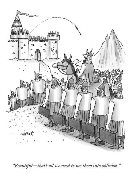Drawing - An Army Of Vikings Hold Briefcases by Tom Cheney
