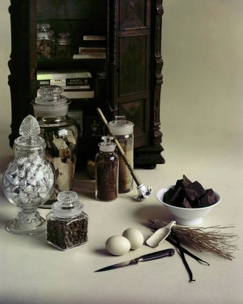 Indulgence Photograph - An Assortment Of Chocolate In Glass Jars by Otto Maya