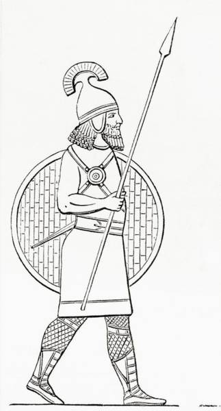 Protective Clothing Photograph - An Assyrian Spearman.  From The Imperial Bible Dictionary, Published 1889 by Bridgeman Images