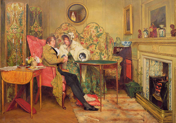 Screen Painting - An Attentive Visitor by Walter Dendy Sadler