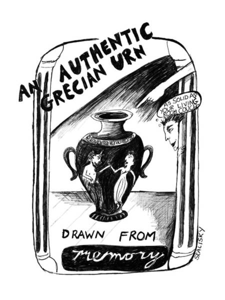 Memory Drawing - An Authentic Grecian Urn-drawn From Memory by Stephanie Skalisk