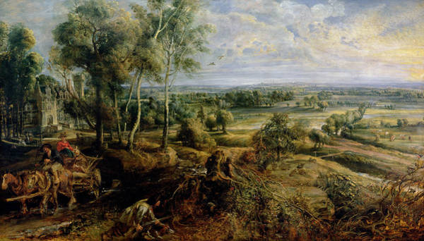 Chateau Photograph - An Autumn Landscape With A View Of Het Steen In The Early Morning, C.1636 Oil On Panel by Peter Paul Rubens