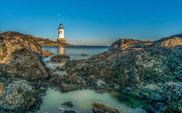 Photograph - An Early Moon Over Fort Pickering Light Salem Ma by Bryan Xavier