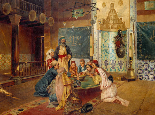 Kneeling Painting - An Eastern Meal by Rudolphe Ernst