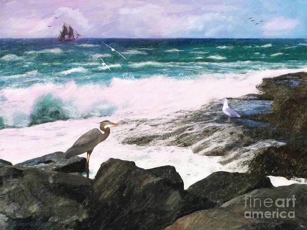 Wall Art - Digital Art - An Egret's View Seascape by Lianne Schneider