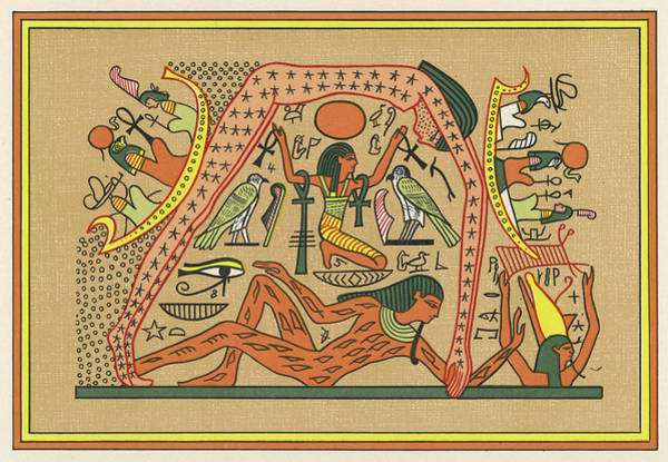 Wall Art - Drawing - An Egyptian View Of Creation -  Geb by Mary Evans Picture Library