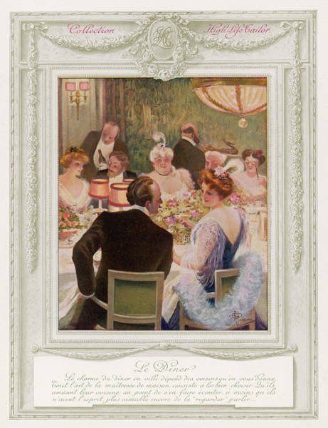 Wall Art - Drawing - An Elegant Dinner Party In An by Mary Evans Picture Library
