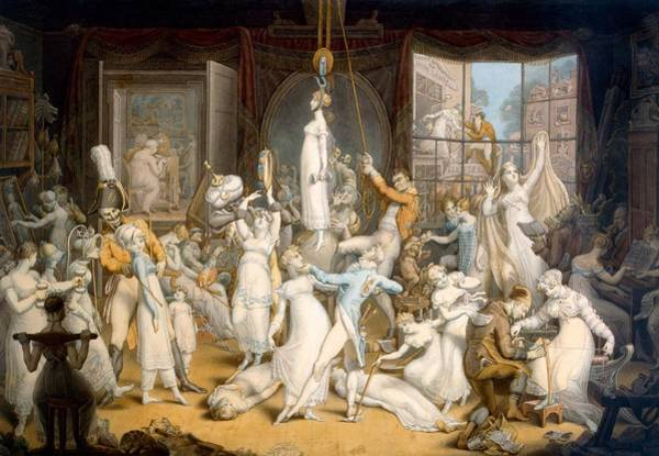 Elegant Drawing - An Elegant Establishment For Young by Edward Francis Burney