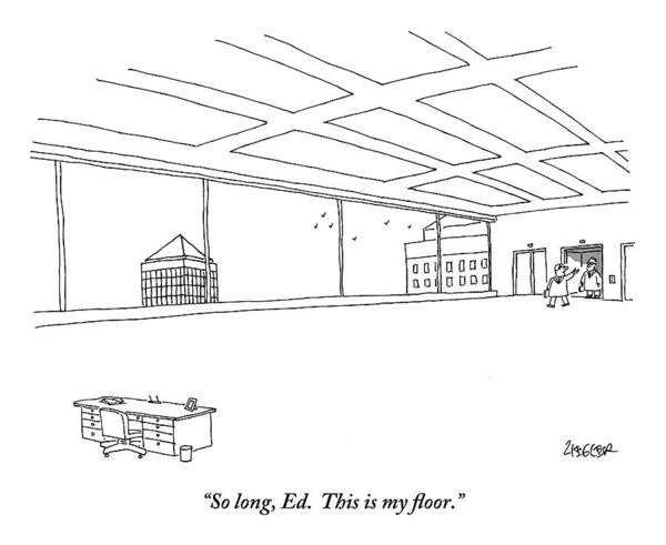 December 7th Drawing - An Elevator Opens Onto A Very Large Floor by Jack Ziegler