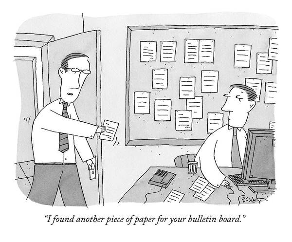 November 11th Drawing - An Employee In An Office Hands His Boss A Piece by Peter C. Vey