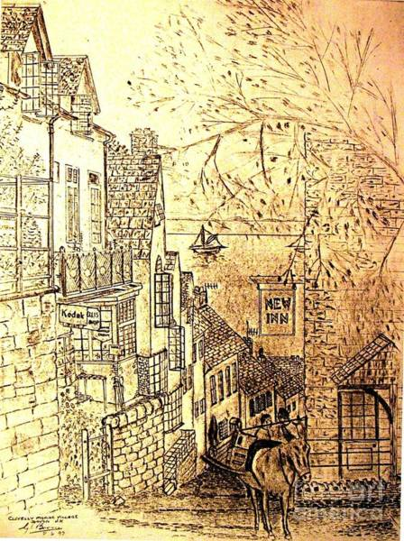 Wall Art - Drawing - An English Fishing Village by Hazel Holland