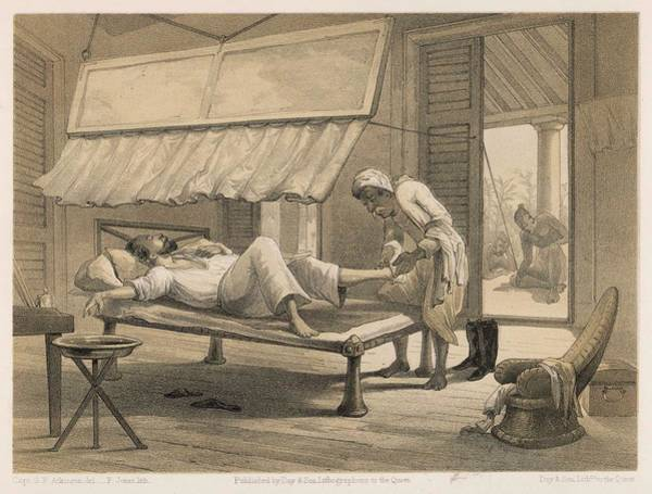 Wall Art - Drawing - An English Resident's Bedroom In India by Mary Evans Picture Library