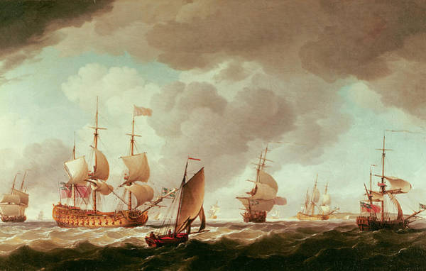 Vice Photograph - An English Vice-admiral Of The Red And His Squadron At Sea, C.1750-59 Oil On Canvas by Charles Brooking