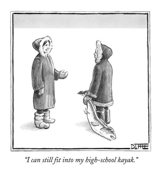 High School Drawing - An Eskimo Woman Speaks To Another Eskimo by Matthew Diffee
