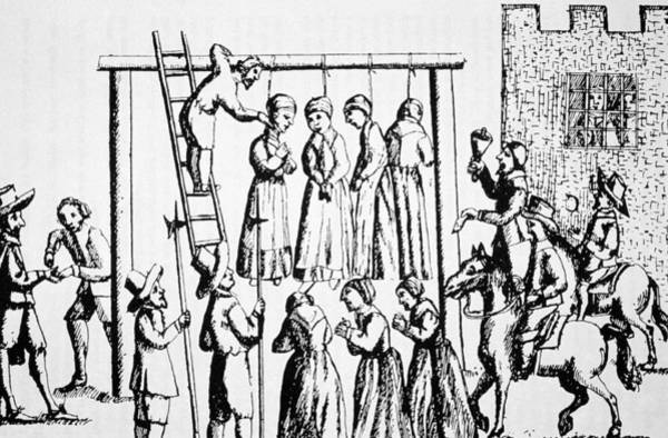Condemned Wall Art - Drawing - An Execution Of Witches In England by English School