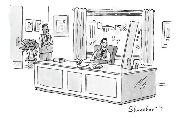 Affair Drawing - An Executive Looks At Two Pictures On His Desk by Danny Shanahan