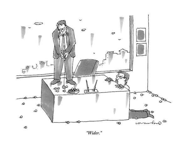 Golf Drawing - An Executive Putts Golf Balls From His Desk by Michael Crawford