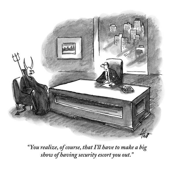 Devil Drawing - An Executive Sitting At A Desk Is Speaking by Frank Cotham