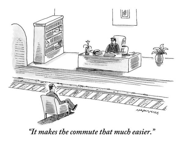 Train Drawing - An Executive Sitting At His Desk Speaks To A Man by Mick Stevens