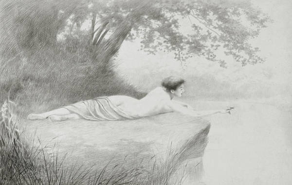 Riverbank Drawing - An Idyll by Charles Prosper Sainton
