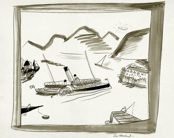 Sailing Digital Art - An Illustrated Depiction Of Switzerland by Ludwig Bemelmans