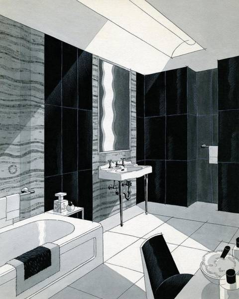 Wall Digital Art - An Illustration Of A Bathroom by Urban Weis