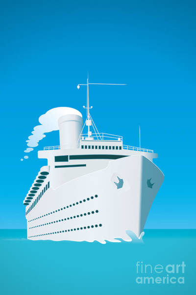Course Wall Art - Digital Art - An Image Of A White Cruise Ship And The by Markus Gann