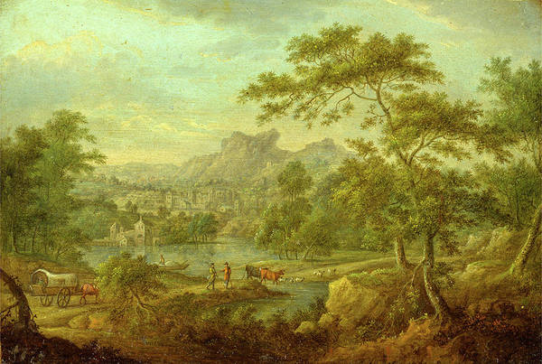 Wall Art - Painting - An Imaginary Landscape With A Wagon And A Distant View by Litz Collection