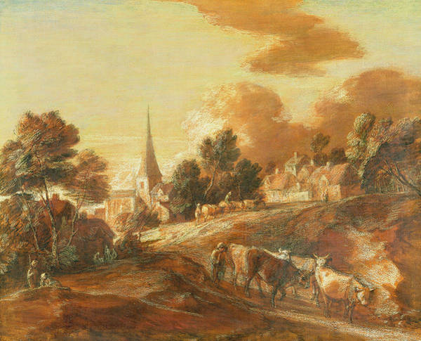 Thomas Gainsborough Wall Art - Painting - An Imaginary Wooded Village With Drovers And Cattle by Thomas Gainsborough