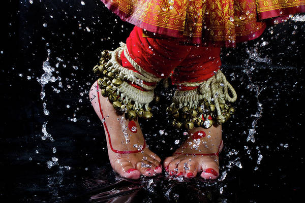 Indian Culture Photograph - An Indian Woman Dancing During Rain by Subir Basak