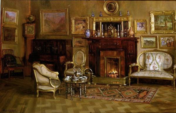 Fireplace Painting - An Interior by Maud Hall Neale