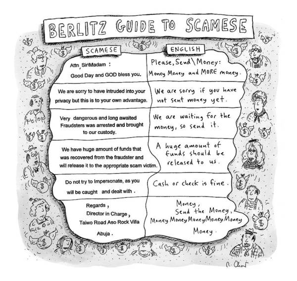 Interpretation Drawing - An Interpretation Of What Spam E-mails Trying by Roz Chast