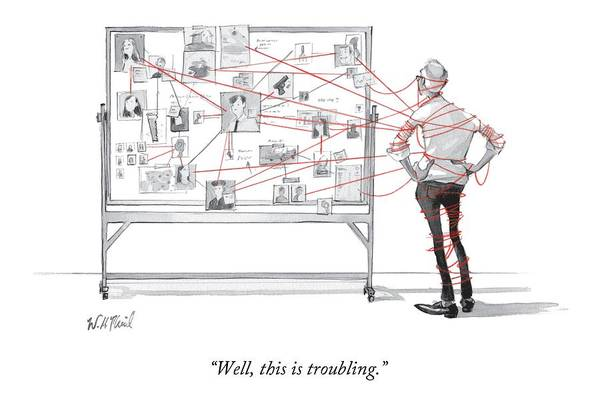 Crime Drawing - An Investigator Wrapped Up In The String by Will McPhail