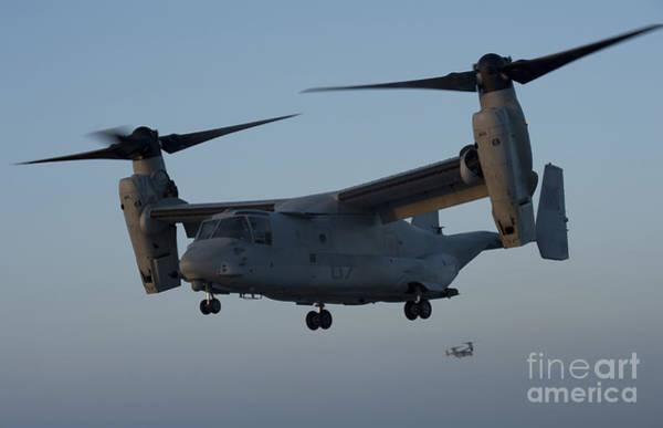 Mv-22 Photograph - An Mv-22 Osprey Prepares To Land by Stocktrek Images