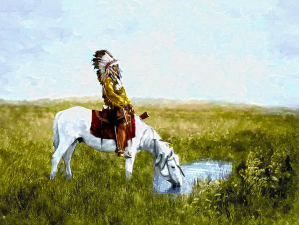 Horse Feathers Digital Art - An Oasis In The Badlands by Rick Mosher