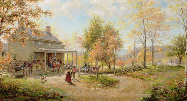 Portico Painting - An October Day by Edward Lamson Henry